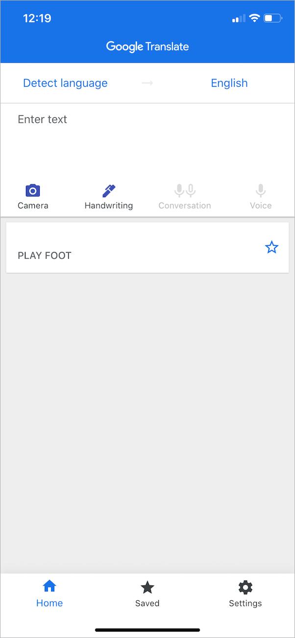 light theme in google translate