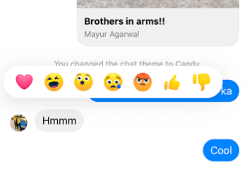 heart reaction in messenger on iphone
