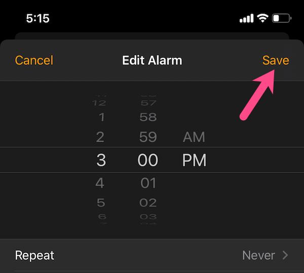 save an alarm in ios