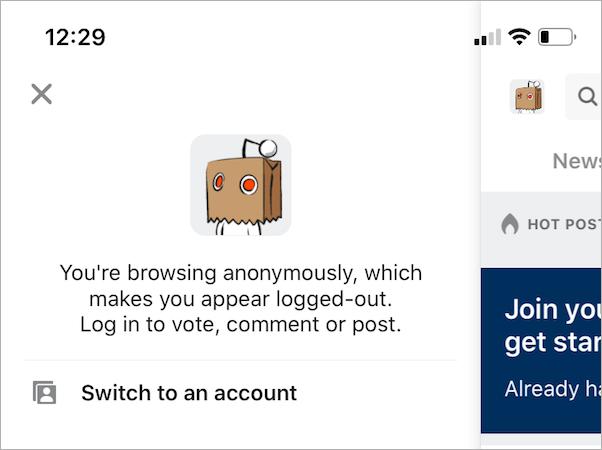 anonymous mode in reddit app