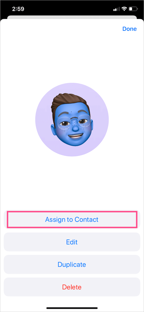 assign to contact in ios