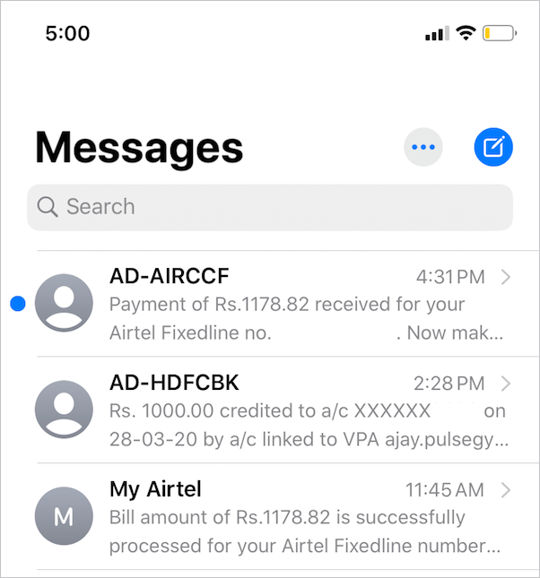 blue dot in messages on iphone