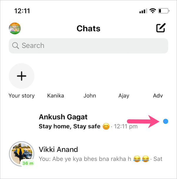 blue dot in messages on facebook messenger