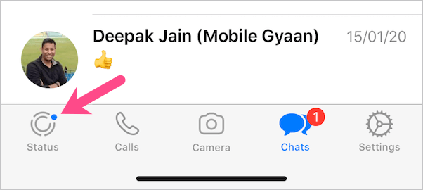blue dot in whatsapp on iphone