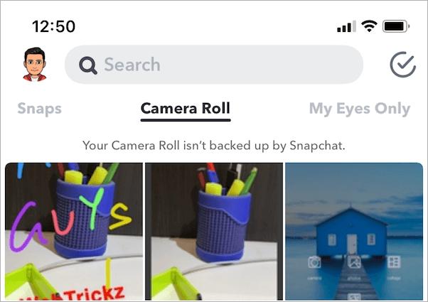 camera roll in snapchat app