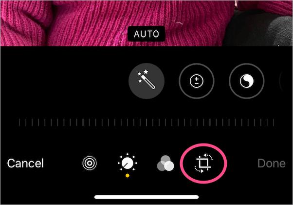 image crop tool in photos app