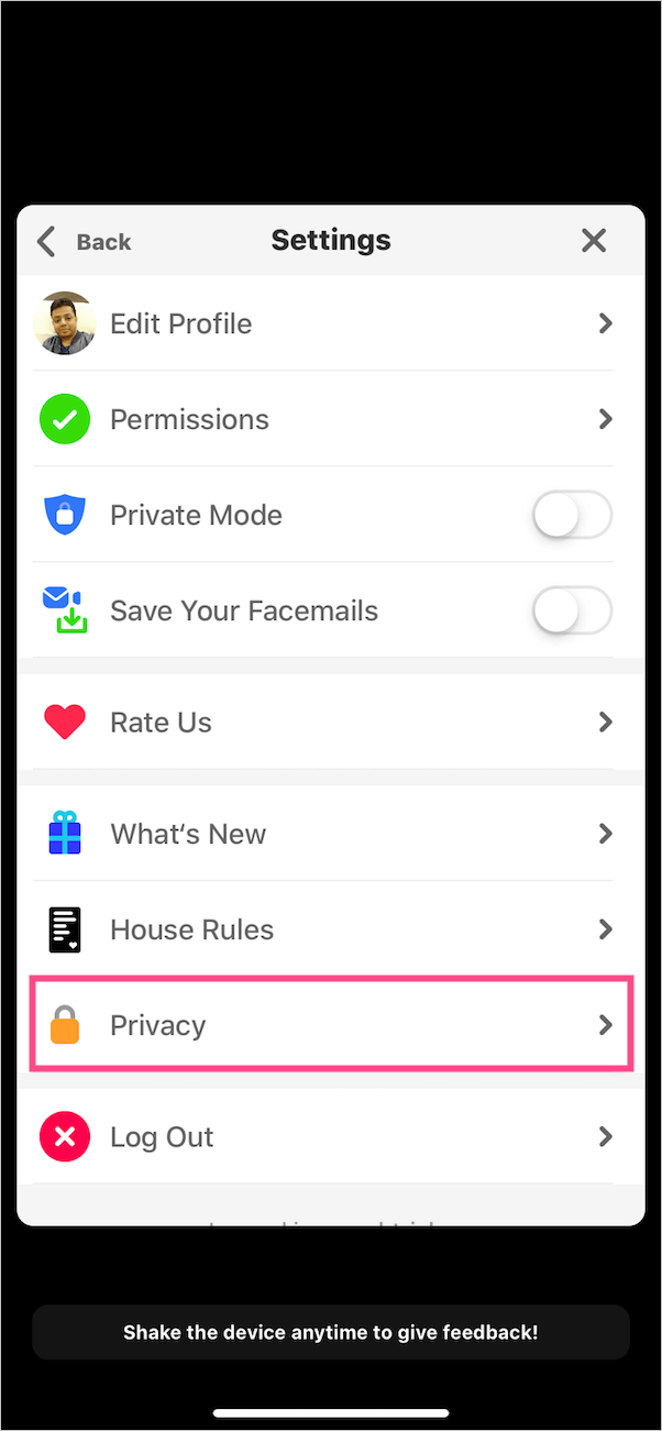 privacy option in houseparty