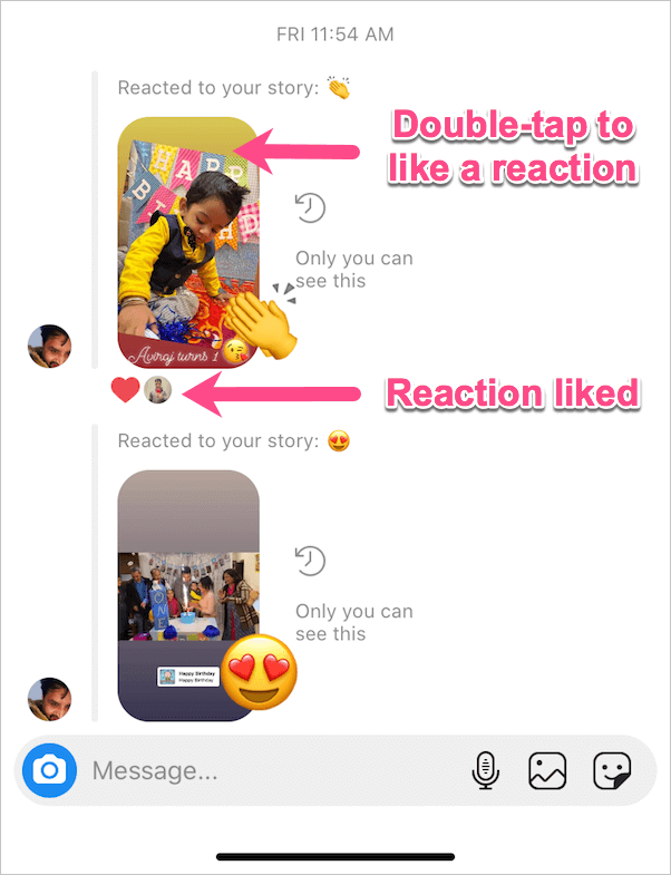 like reaction on instagram story