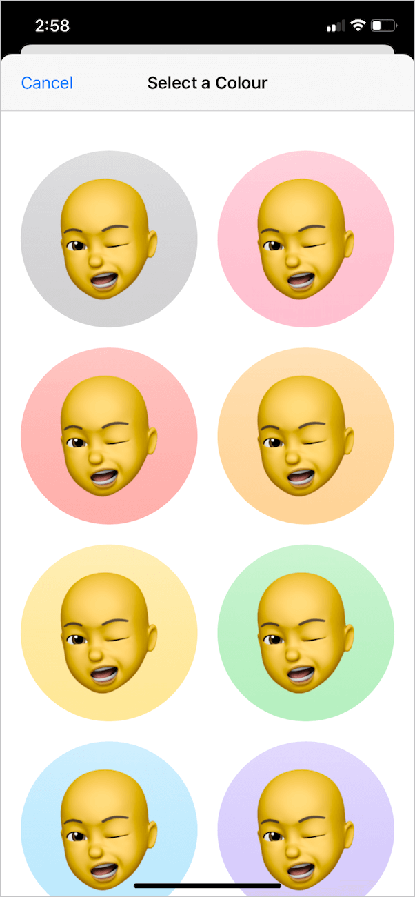 choose background colour for memoji