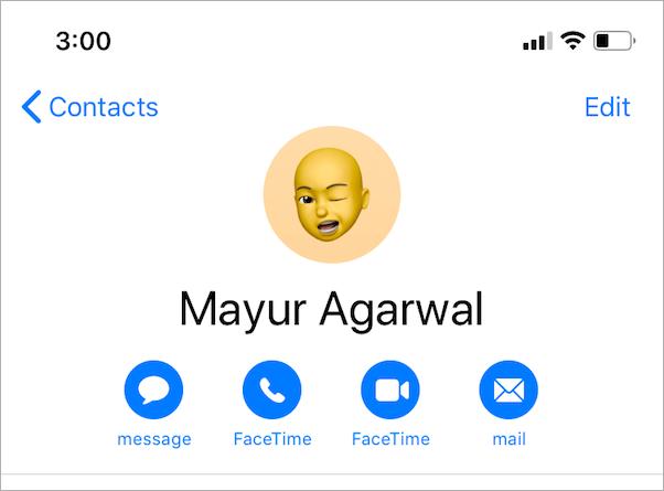 custom memoji as contact avatar