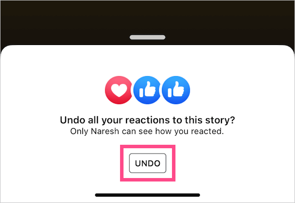 remove reaction from facebook story