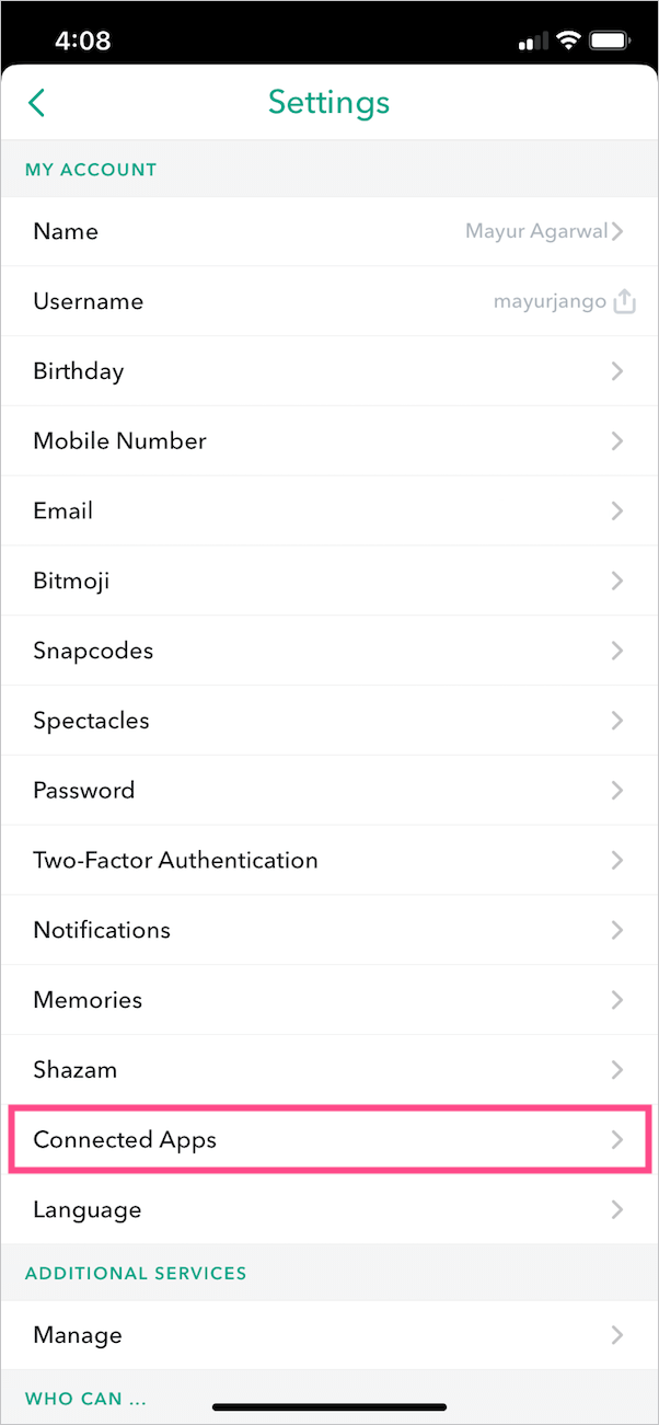 connected apps on snapchat
