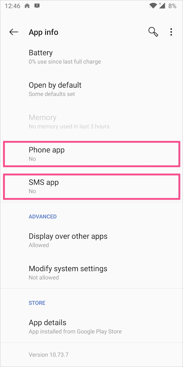 configure phone and sms app in truecaller