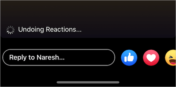 removing reactions on facebook story