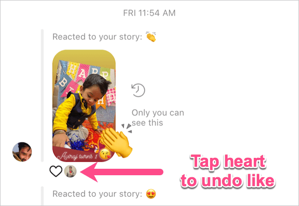 undo like on instagram story reaction