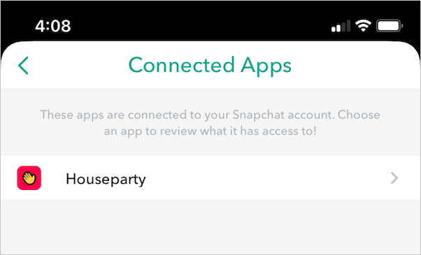 houseparty connected app in snapchat