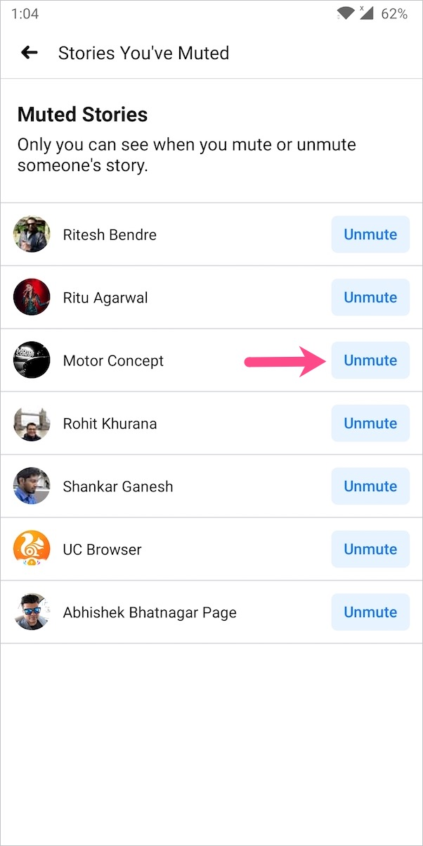 unmute facebook stories on android