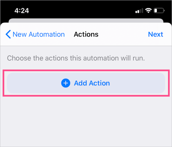 add action in new automation