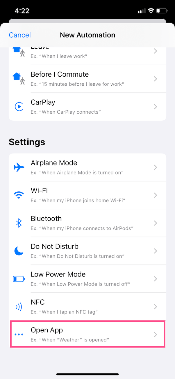 set up new automation in ios