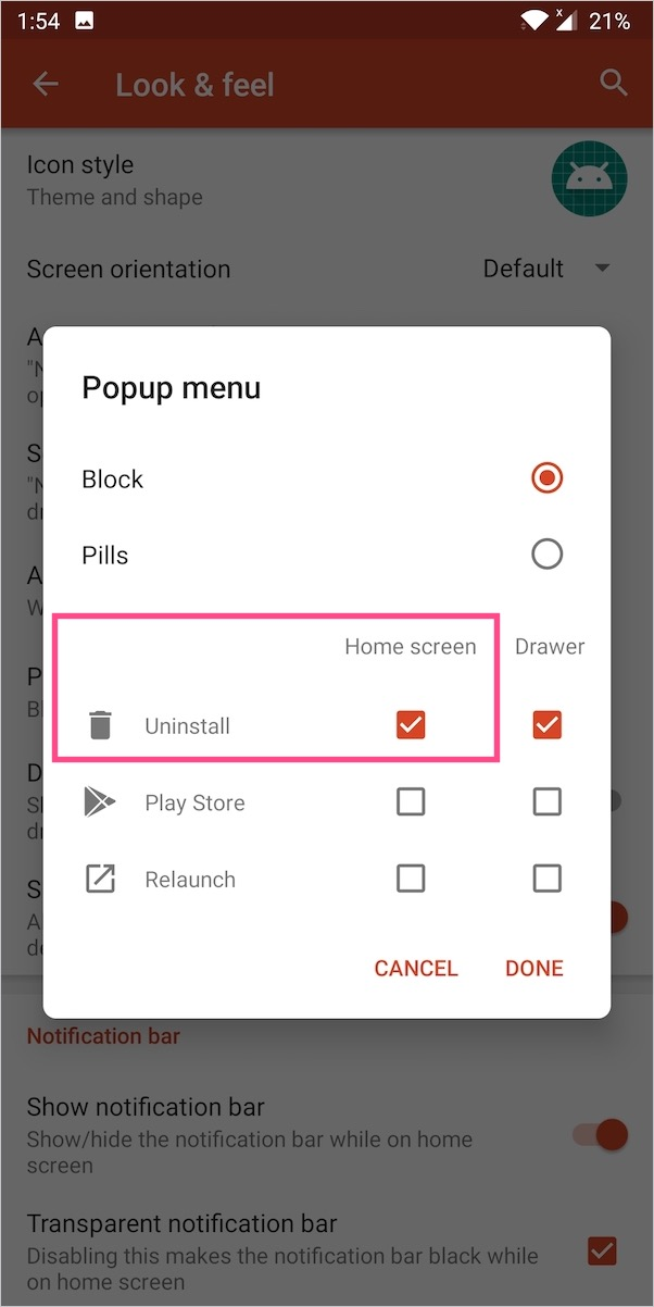add uninstall option to home screen apps in nova launcher