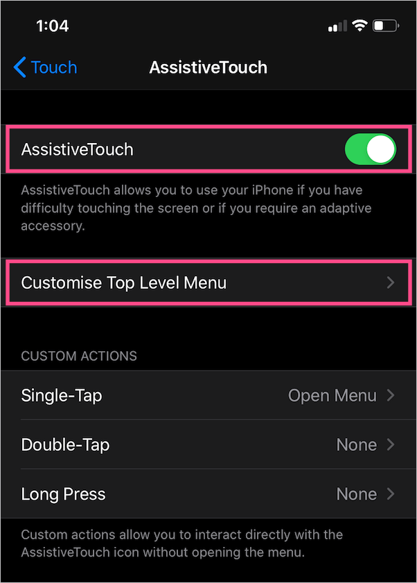 assistive touch settings in ios
