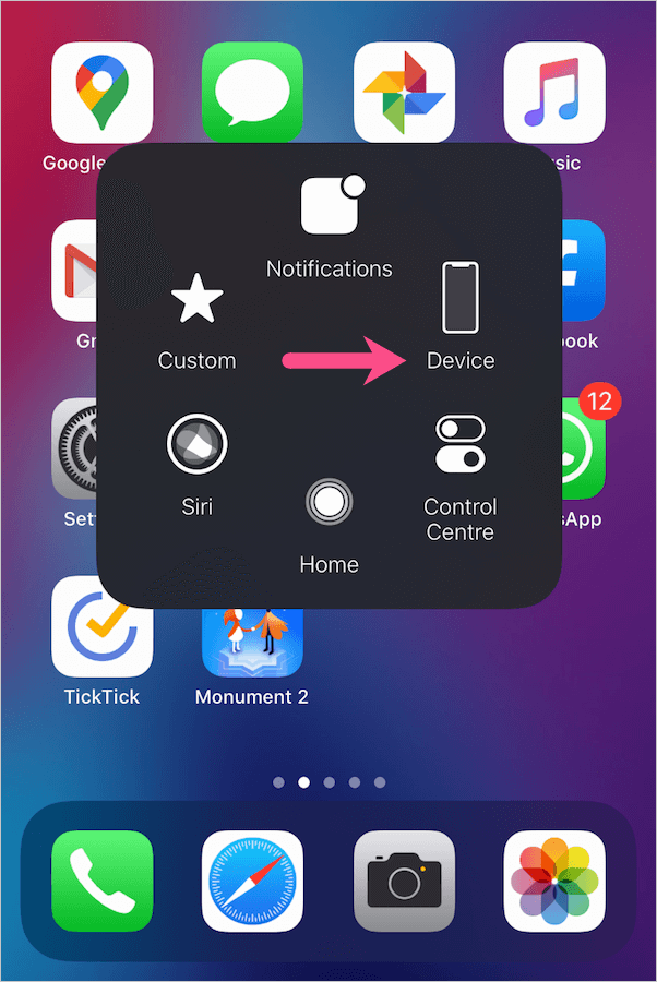 assistive touch main menu in ios 13