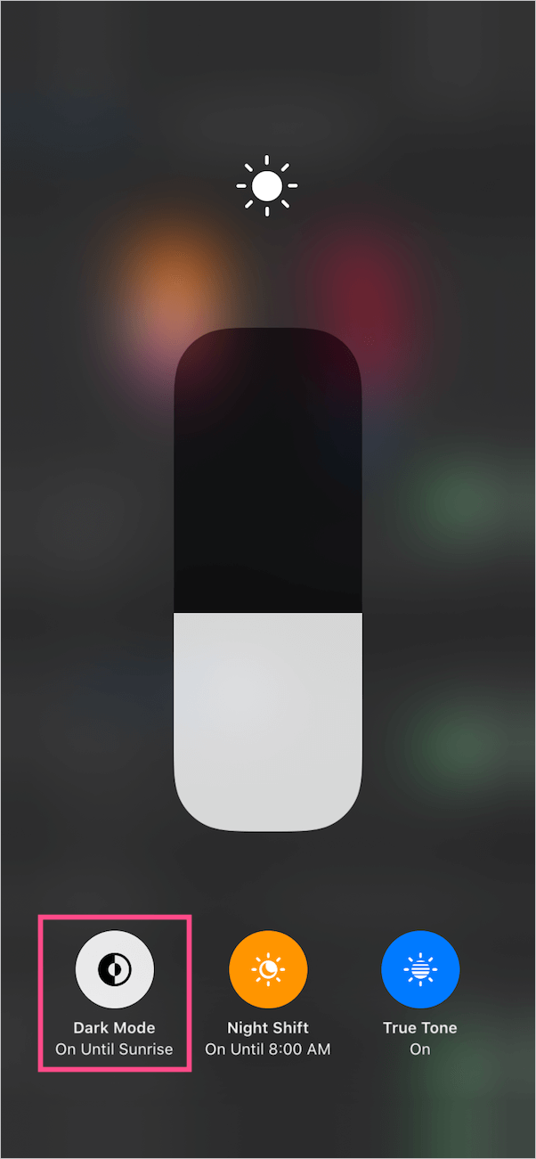 turn on dark mode from control center in ios 13
