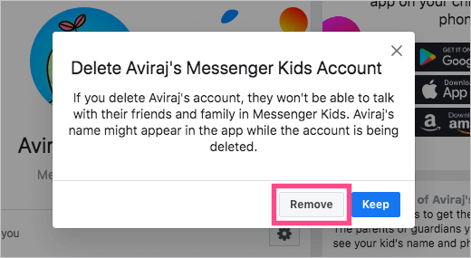 remove kids messenger account from facebook
