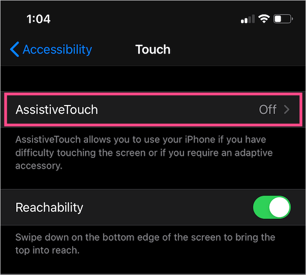 how to enable assistive touch in ios 13