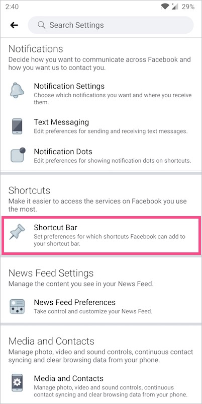 shortcut bar setting on facebook app