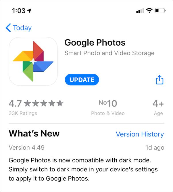 google photos gets dark mode in ios 13