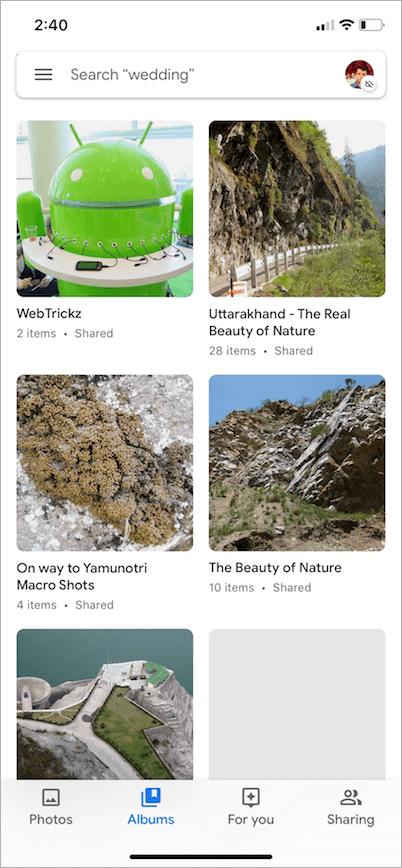 light theme in google photos app on iphone