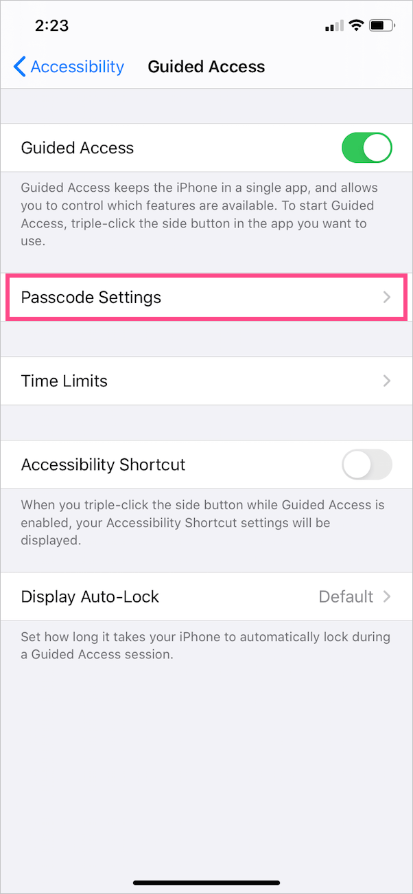 change guided access settings