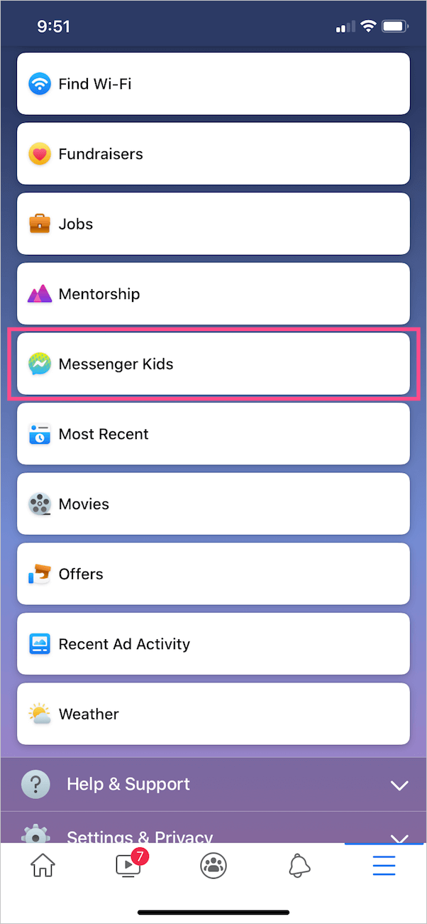 messenger kids section in facebook app