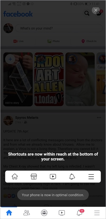 facebook moved shortcut bar to bottom