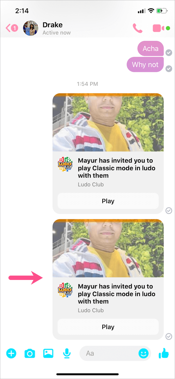 invitation to play game on messenger