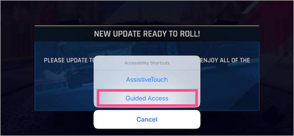 turn on Guided Access when playing a game