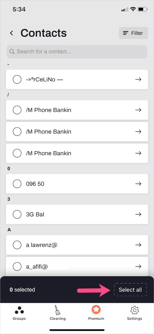 select all contacts on iPhone 11