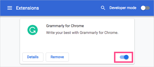 disable grammarly in chrome