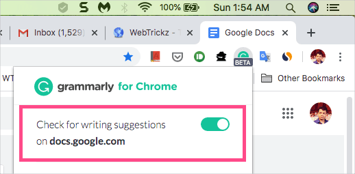 Turn off Grammarly in google docs