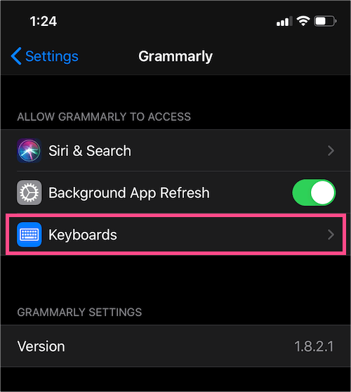 grammarly settings on ios
