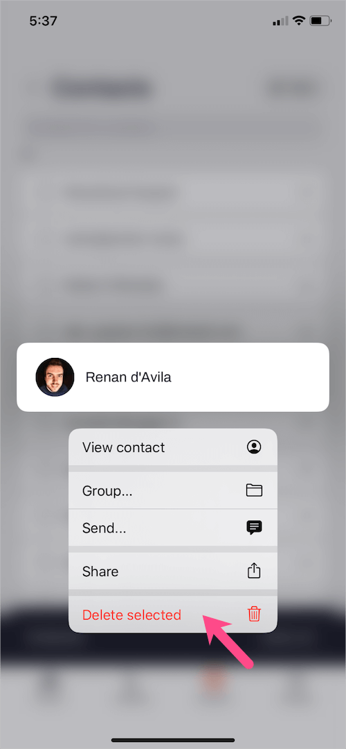 delete individual contact on iphone with haptic touch