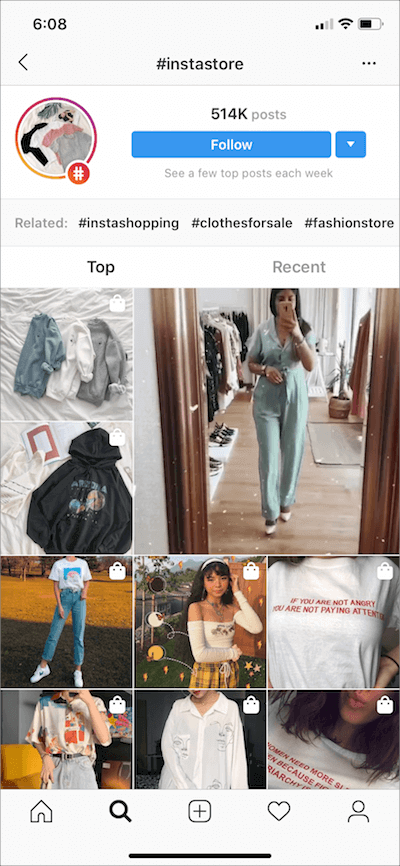 tagged photos on instagram shopping store