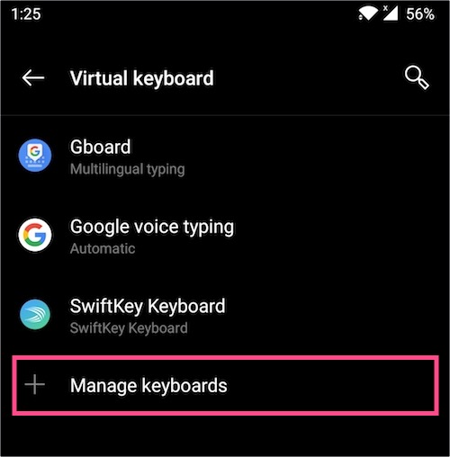 Manage keyboards on android