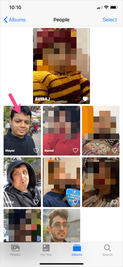 select a person in people album on iphone