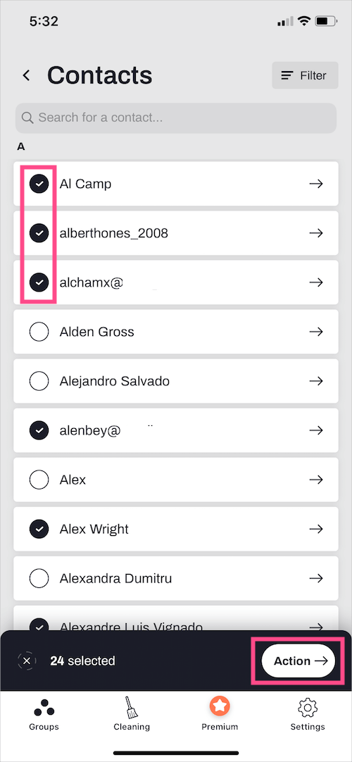 select specific contacts to delete on iphone