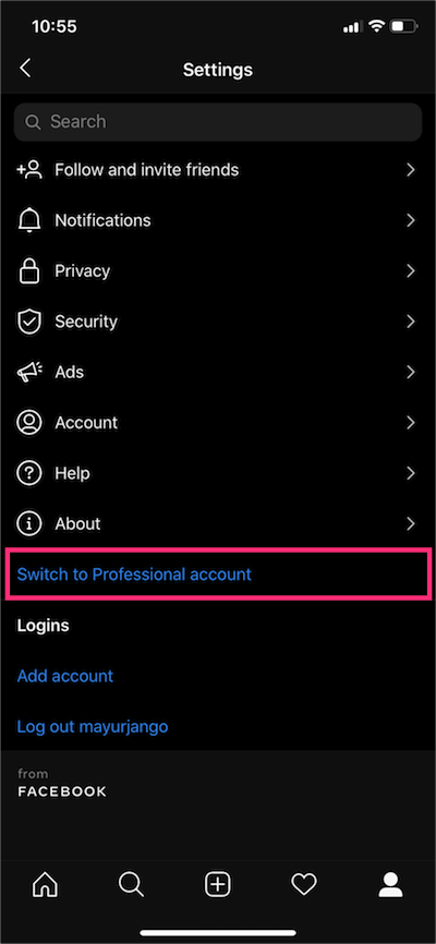 switch to professional account on instagram app