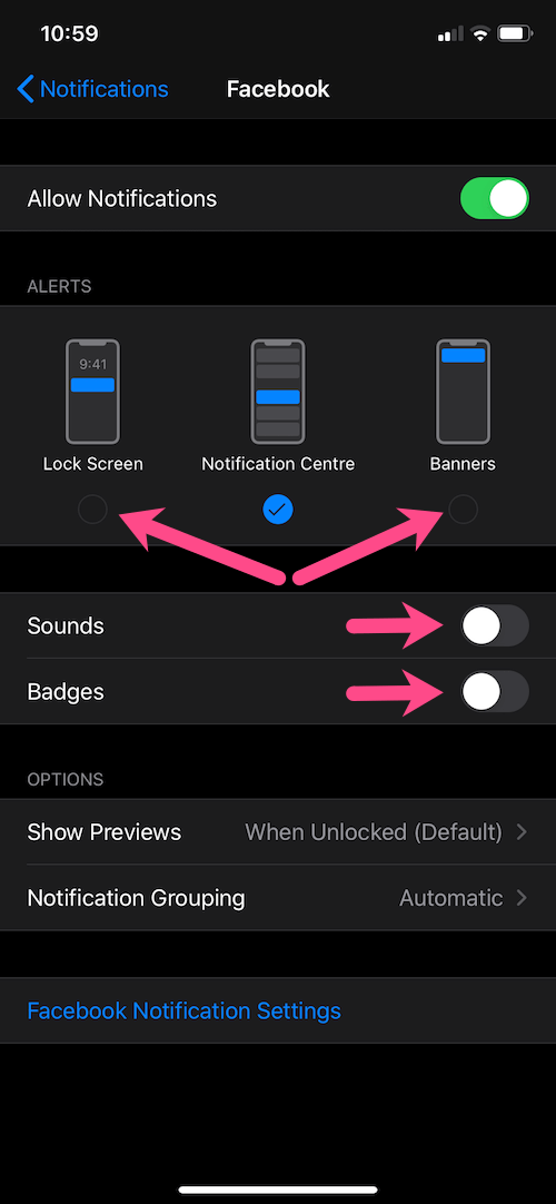 how to disable quiet notifications on iphone
