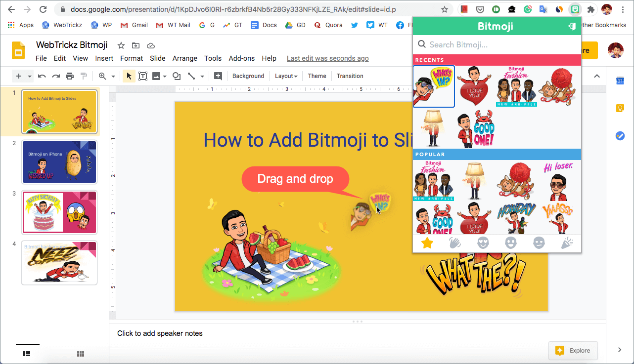how to add bitmoji to google slides on computer
