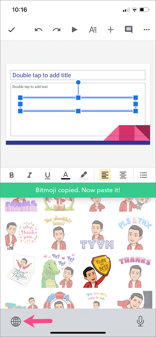 bitmoji copied to clipboard on iphone